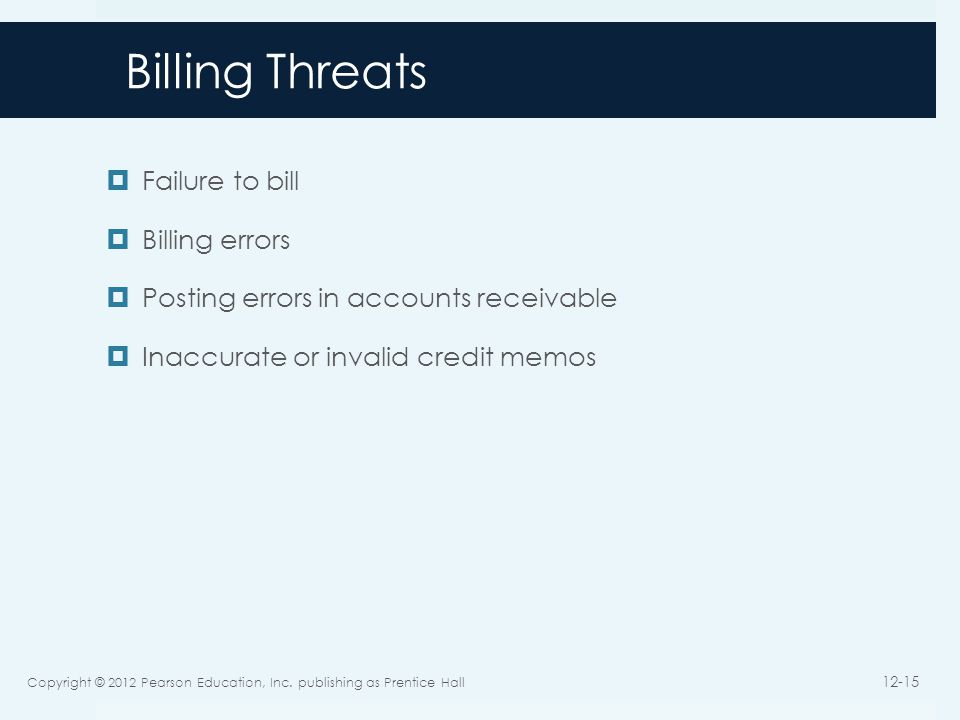 Billing Threats Failure to bill Billing errors Posting errors in accounts receivable Inaccurate or invalid credit memos Copyright © 2012 Pearson Education, Inc.