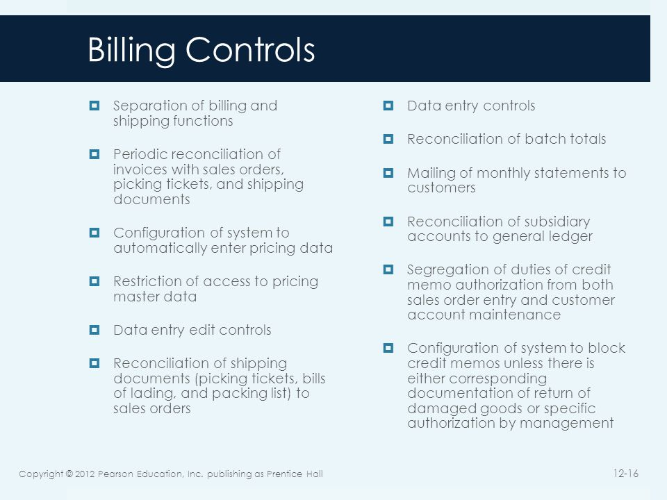 Billing Controls Separation of billing and shipping functions Periodic reconciliation of invoices with sales orders, picking tickets, and shipping documents Configuration of system to automatically enter pricing data Restriction of access to pricing master data Data entry edit controls Reconciliation of shipping documents (picking tickets, bills of lading, and packing list) to sales orders Data entry controls Reconciliation of batch totals Mailing of monthly statements to customers Reconciliation of subsidiary accounts to general ledger Segregation of duties of credit memo authorization from both sales order entry and customer account maintenance Configuration of system to block credit memos unless there is either corresponding documentation of return of damaged goods or specific authorization by management Copyright © 2012 Pearson Education, Inc.