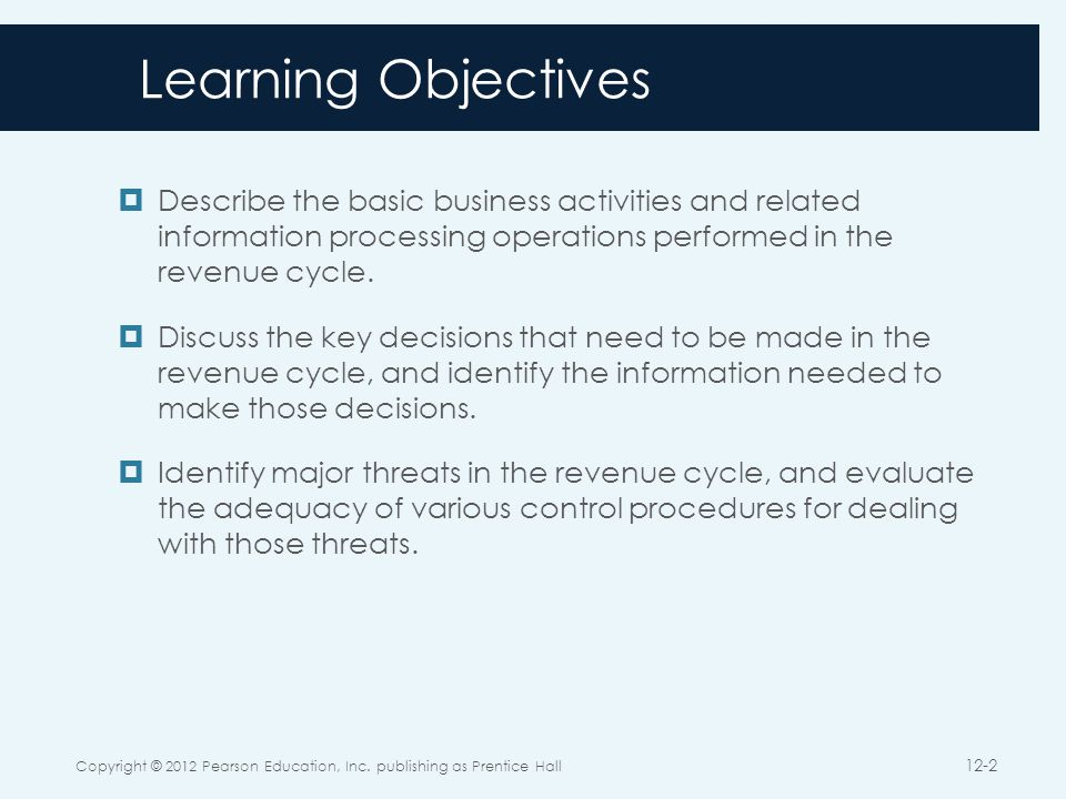 The Revenue Cycle Copyright © 2012 Pearson Education, Inc. publishing as Prentice Hall 12-3