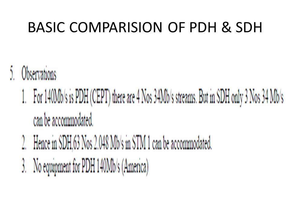BASIC COMPARISION OF PDH & SDH