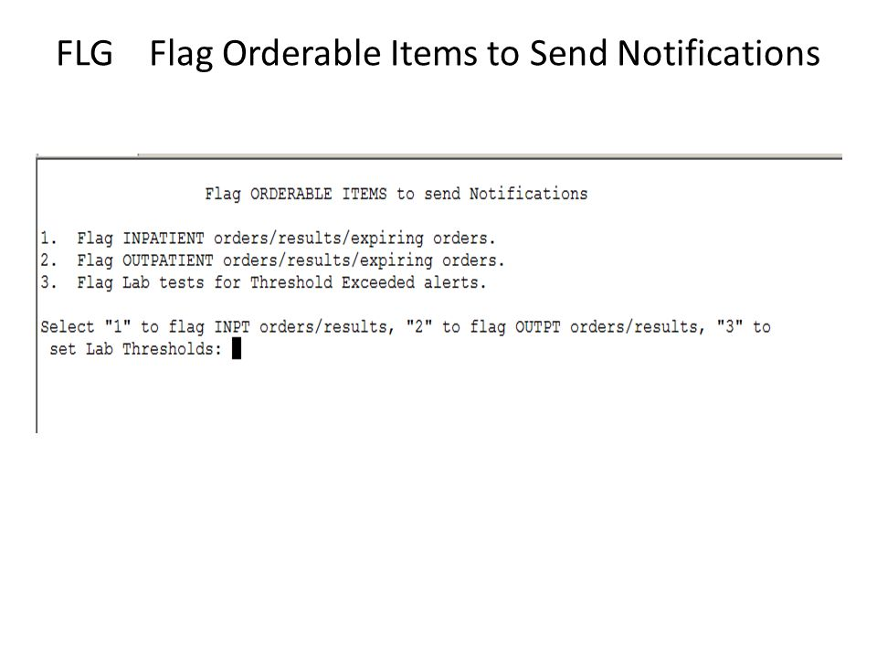 FLG Flag Orderable Items to Send Notifications