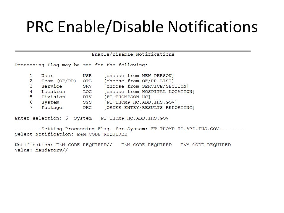 PRC Enable/Disable Notifications