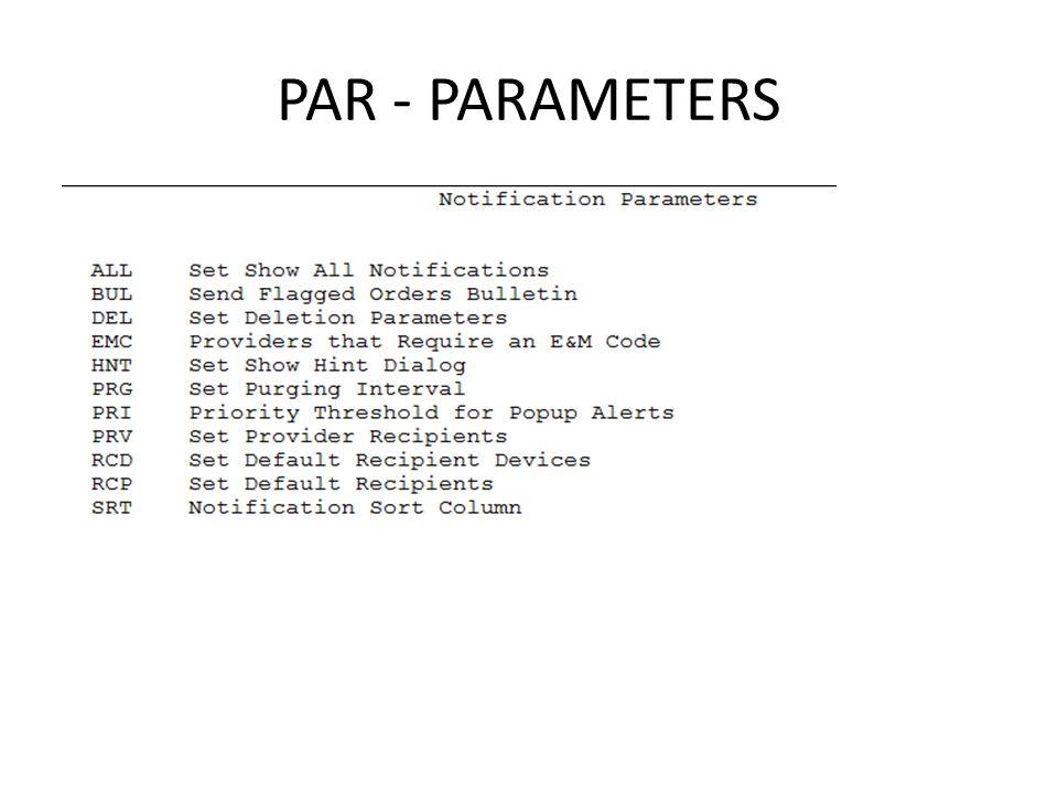 PAR - PARAMETERS