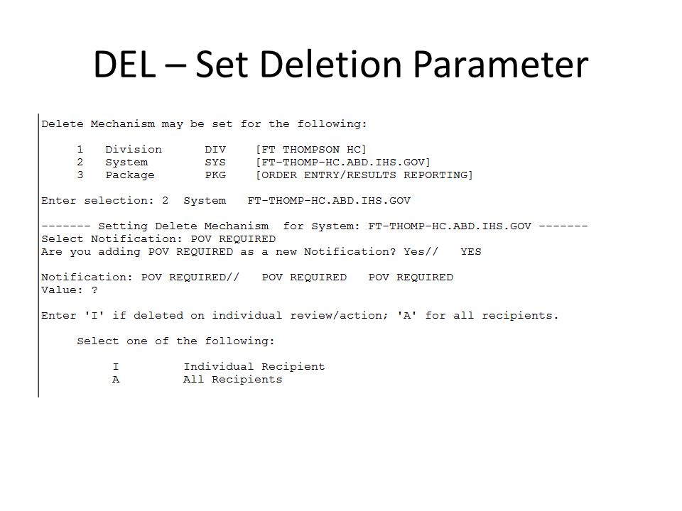 DEL – Set Deletion Parameter