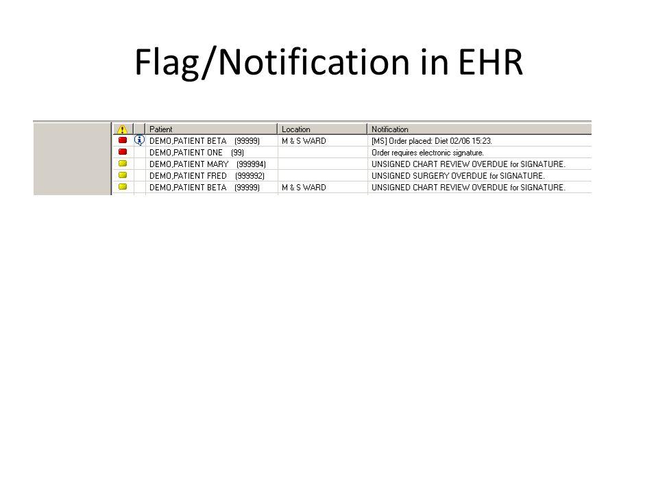 Flag/Notification in EHR