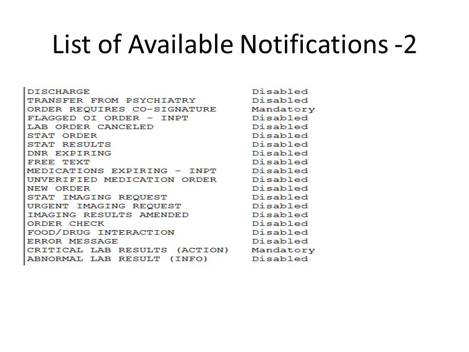 List of Available Notifications -2