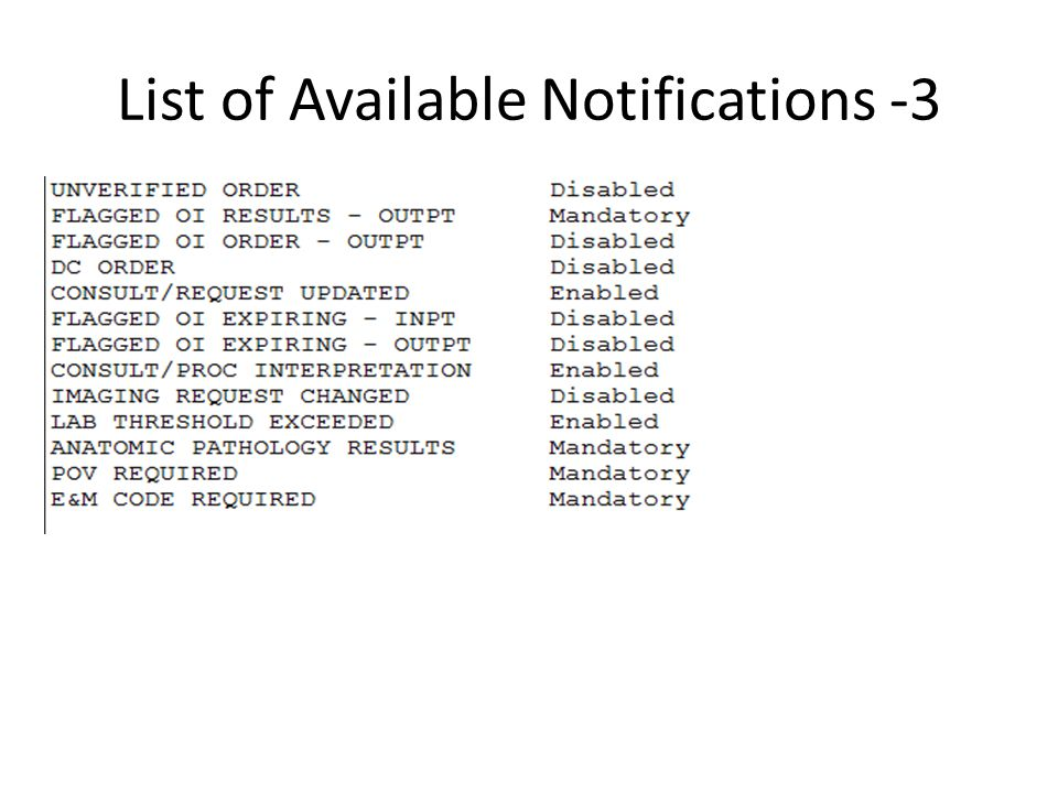 List of Available Notifications -3