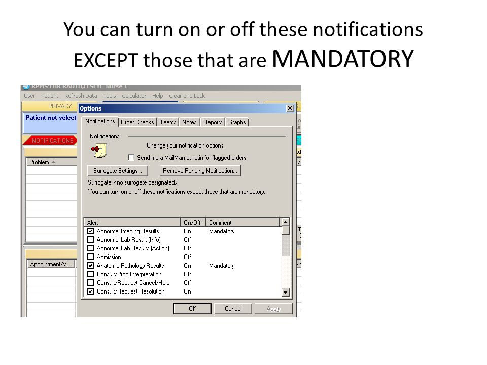 You can turn on or off these notifications EXCEPT those that are MANDATORY