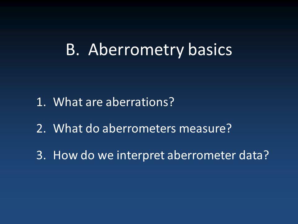 B. Aberrometry basics 1.What are aberrations? 2.What do aberrometers measure? 3.How do we interpret aberrometer data?