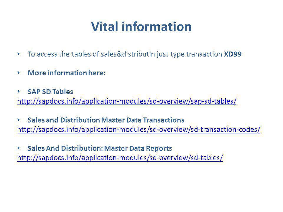 Vital information To access the tables of sales&distributin just type transaction XD99 More information here: SAP SD Tables http://sapdocs.info/application-modules/sd-overview/sap-sd-tables/ Sales and Distribution Master Data Transactions http://sapdocs.info/application-modules/sd-overview/sd-transaction-codes/ Sales And Distribution: Master Data Reports http://sapdocs.info/application-modules/sd-overview/sd-tables/