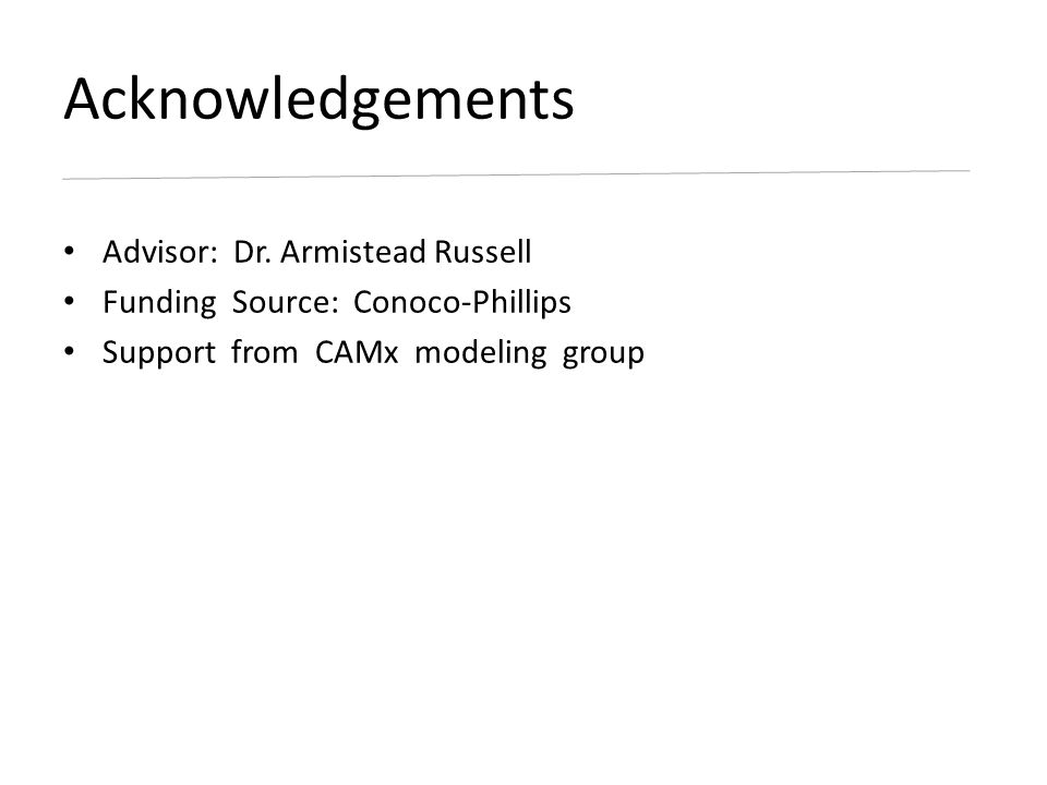 Advisor: Dr. Armistead Russell Funding Source: Conoco-Phillips Support from CAMx modeling group Acknowledgements