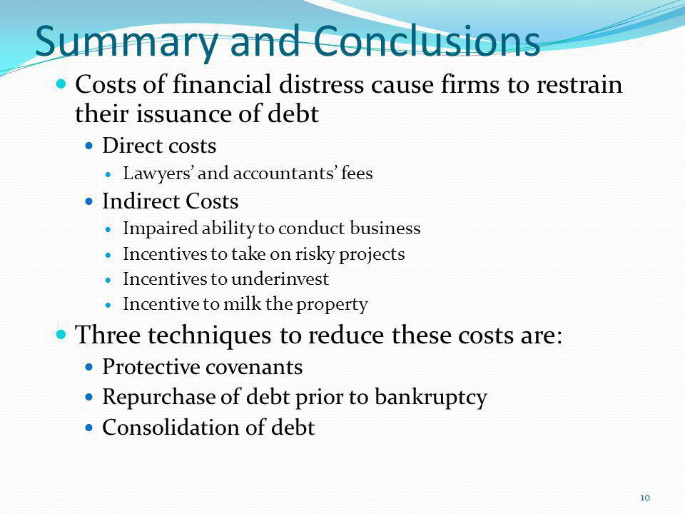 Summary and Conclusions Costs of financial distress cause firms to restrain their issuance of debt Direct costs Lawyers and accountants fees Indirect