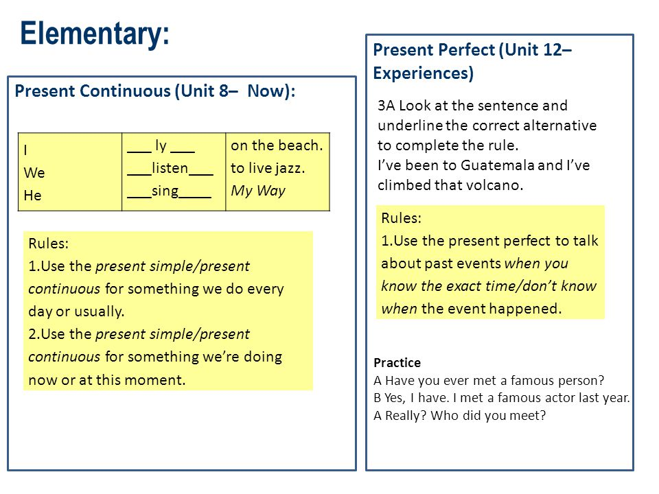 Elementary: Present Continuous (Unit 8– Now): I We He ___ ly ___ ___listen___ ___sing____ on the beach. to live jazz. My Way Rules: 1.Use the present