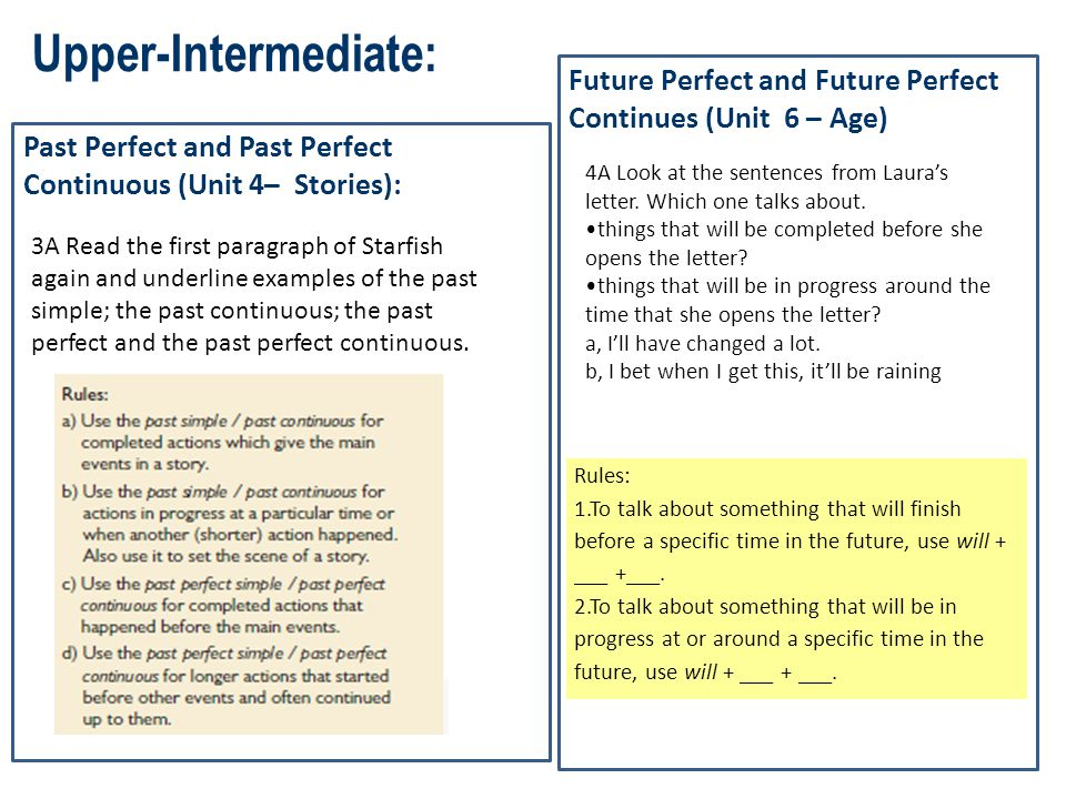 Upper-Intermediate: Past Perfect and Past Perfect Continuous (Unit 4– Stories): Future Perfect and Future Perfect Continues (Unit 6 – Age) 3A Read the
