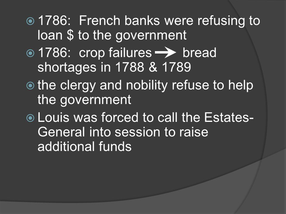 1786: French banks were refusing to loan $ to the government 1786: crop failures bread shortages in 1788 & 1789 the clergy and nobility refuse to help