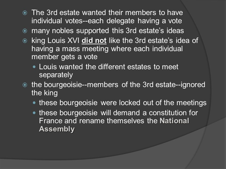 The 3rd estate wanted their members to have individual votes--each delegate having a vote many nobles supported this 3rd estates ideas did not king Lo