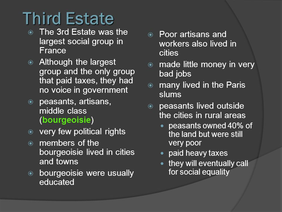 Third Estate The 3rd Estate was the largest social group in France Although the largest group and the only group that paid taxes, they had no voice in