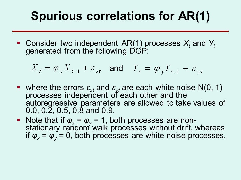 Spurious correlations for AR(1) Consider two independent AR(1) processes X t and Y t generated from the following DGP: and where the errors ε xt and ε