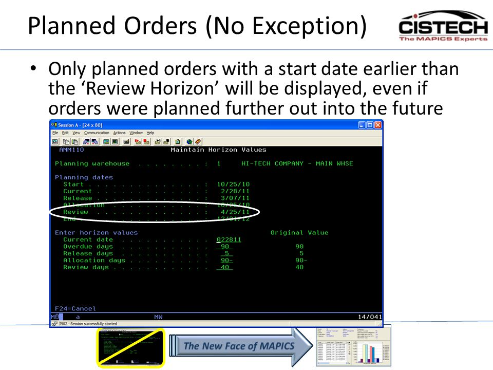 Planned Orders (No Exception) Only planned orders with a start date earlier than the Review Horizon will be displayed, even if orders were planned further out into the future