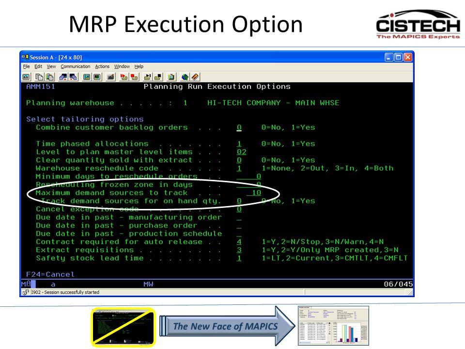 MRP Execution Option