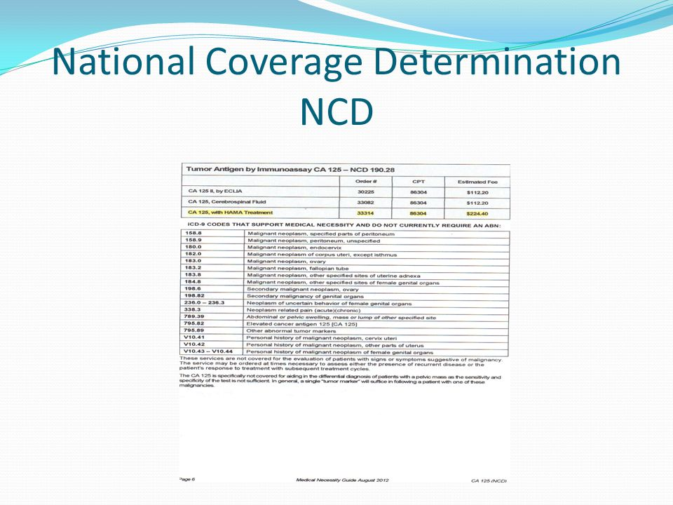 National Coverage Determination NCD