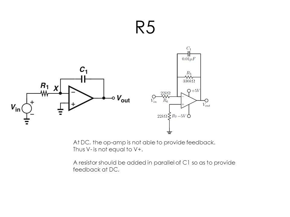 R5 At DC, the op-amp is not able to provide feedback.