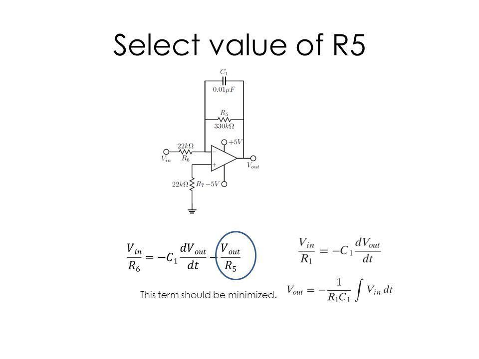 Select value of R5 This term should be minimized.