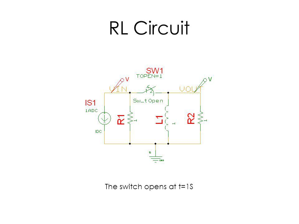 RL Circuit The switch opens at t=1S