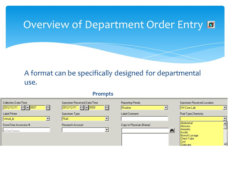 A format can be specifically designed for departmental use. Prompts Overview of Department Order Entry