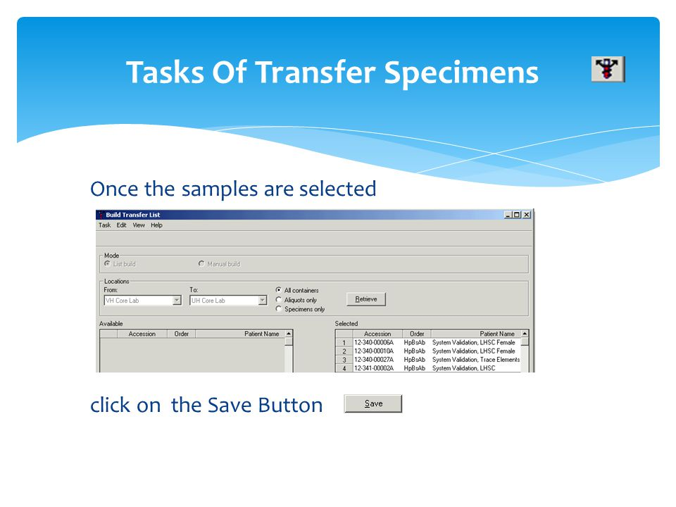 Once the samples are selected click on the Save Button