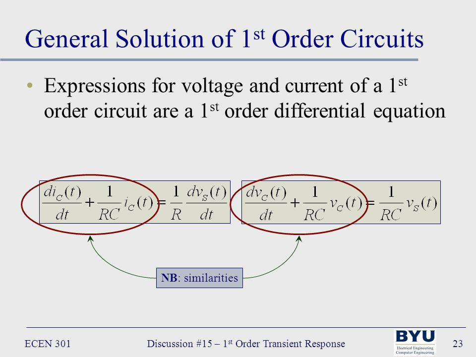 ECEN 301Discussion #15 – 1 st Order Transient Response23 General Solution of 1 st Order Circuits Expressions for voltage and current of a 1 st order circuit are a 1 st order differential equation NB: similarities