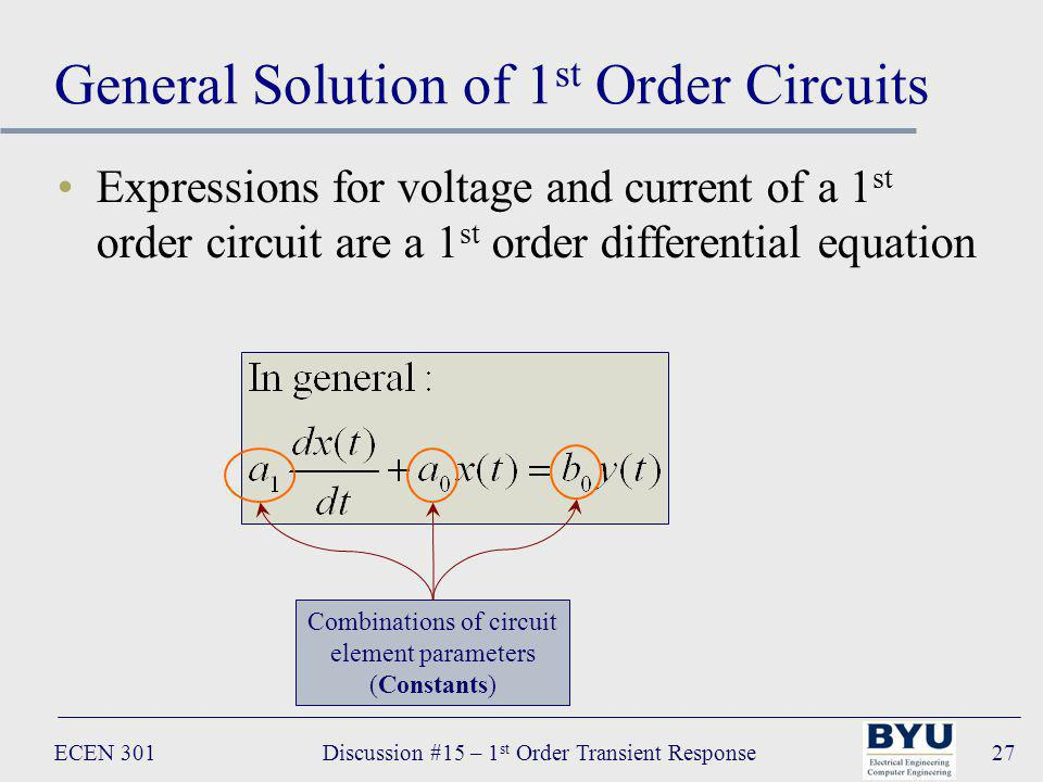 ECEN 301Discussion #15 – 1 st Order Transient Response27 General Solution of 1 st Order Circuits Expressions for voltage and current of a 1 st order circuit are a 1 st order differential equation Combinations of circuit element parameters (Constants)