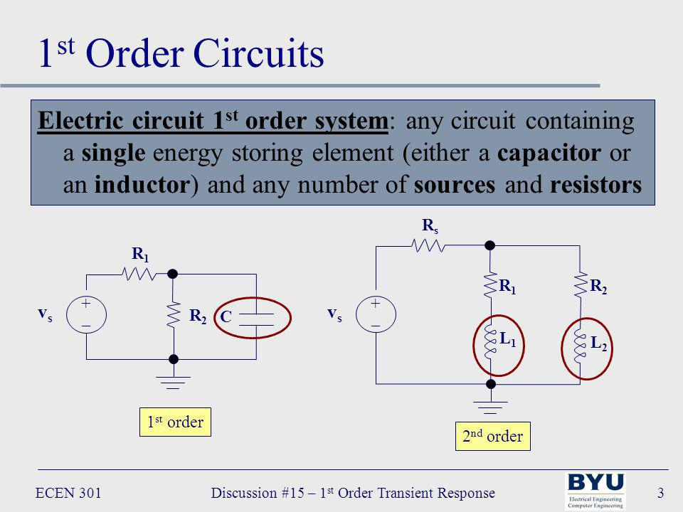 ECEN 301Discussion #15 – 1 st Order Transient Response3 1 st Order Circuits Electric circuit 1 st order system: any circuit containing a single energy storing element (either a capacitor or an inductor) and any number of sources and resistors R s R1R1 vsvs +–+– L2L2 R2R2 L1L1 1 st order 2 nd order R 1 R2R2 C vsvs +–+–