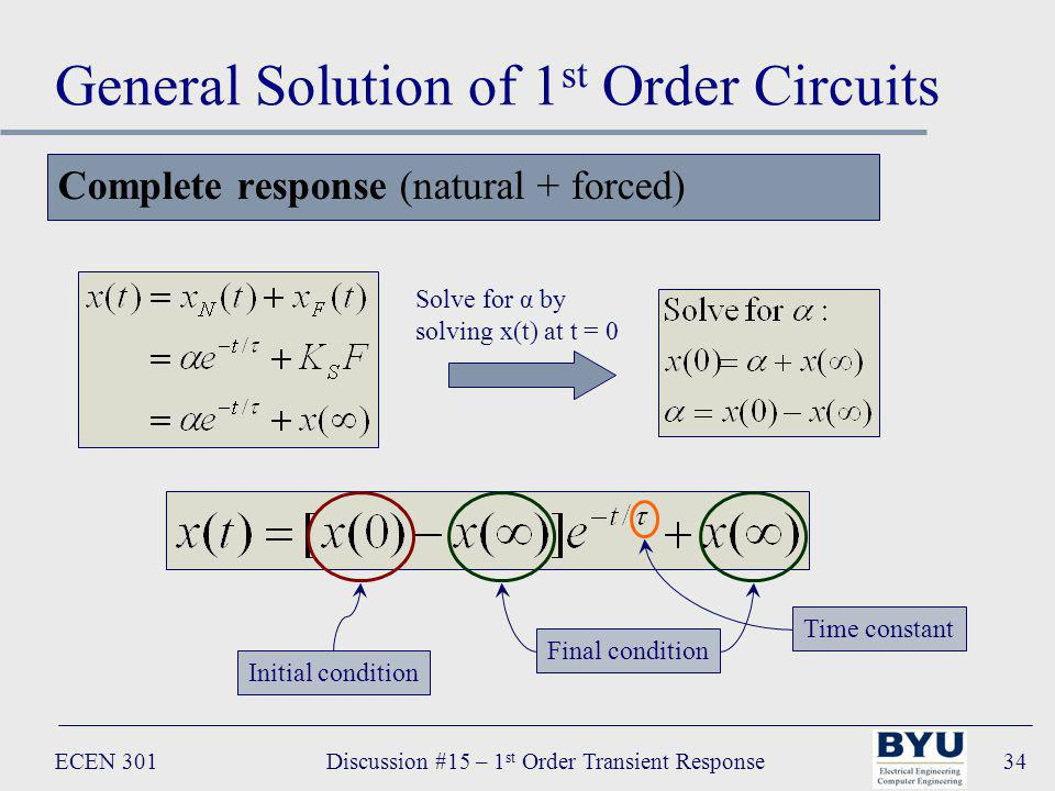 ECEN 301Discussion #15 – 1 st Order Transient Response34 General Solution of 1 st Order Circuits Complete response (natural + forced) Solve for α by solving x(t) at t = 0 Initial condition Final condition Time constant