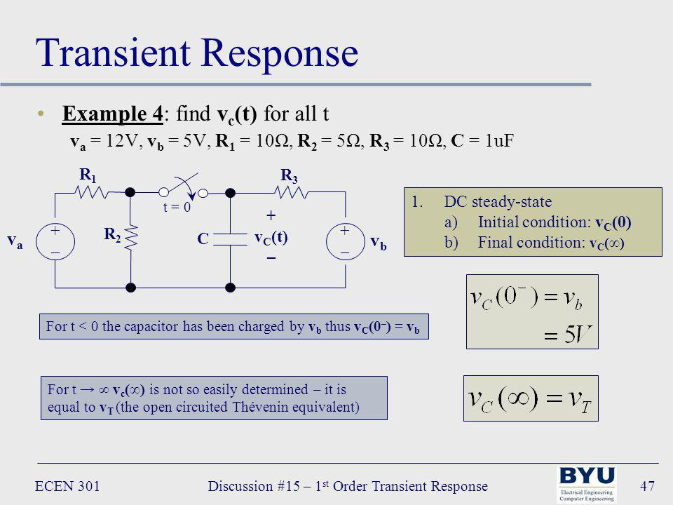 ECEN 301Discussion #15 – 1 st Order Transient Response47 Transient Response Example 4: find v c (t) for all t v a = 12V, v b = 5V, R 1 = 10Ω, R 2 = 5Ω, R 3 = 10Ω, C = 1uF R 3 C vava +–+– t = 0 + v C (t) – vbvb +–+– R 1 R 2 1.DC steady-state a)Initial condition: v C (0) b)Final condition: v C () For t < 0 the capacitor has been charged by v b thus v C (0 – ) = v b For t v c () is not so easily determined – it is equal to v T (the open circuited Thévenin equivalent)