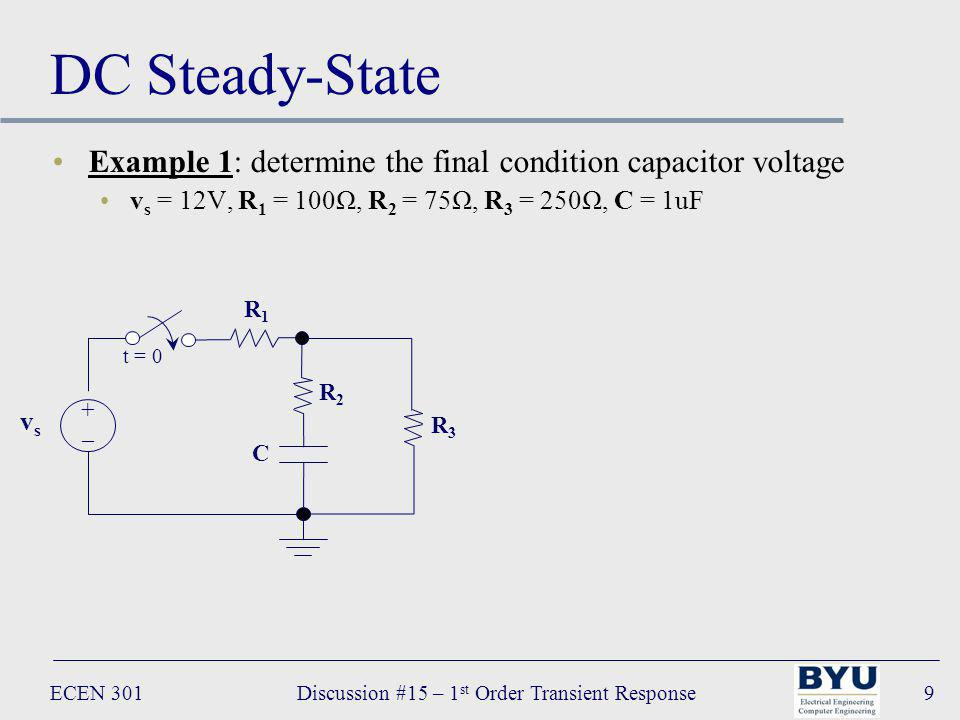 ECEN 301Discussion #15 – 1 st Order Transient Response9 DC Steady-State Example 1: determine the final condition capacitor voltage v s = 12V, R 1 = 100Ω, R 2 = 75Ω, R 3 = 250Ω, C = 1uF R 1 R2R2 C vsvs +–+– t = 0 R3R3