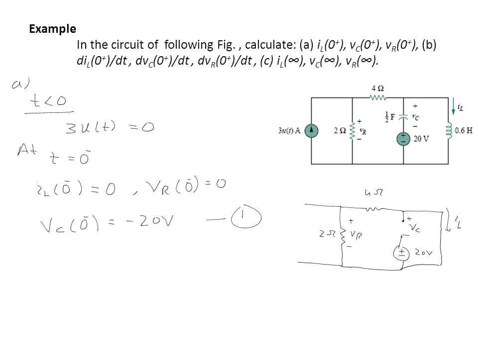 Example In the circuit of following Fig., calculate: (a) i L (0 + ), v C (0 + ), v R (0 + ), (b) di L (0 + )/dt, dv C (0 + )/dt, dv R (0 + )/dt, (c) i