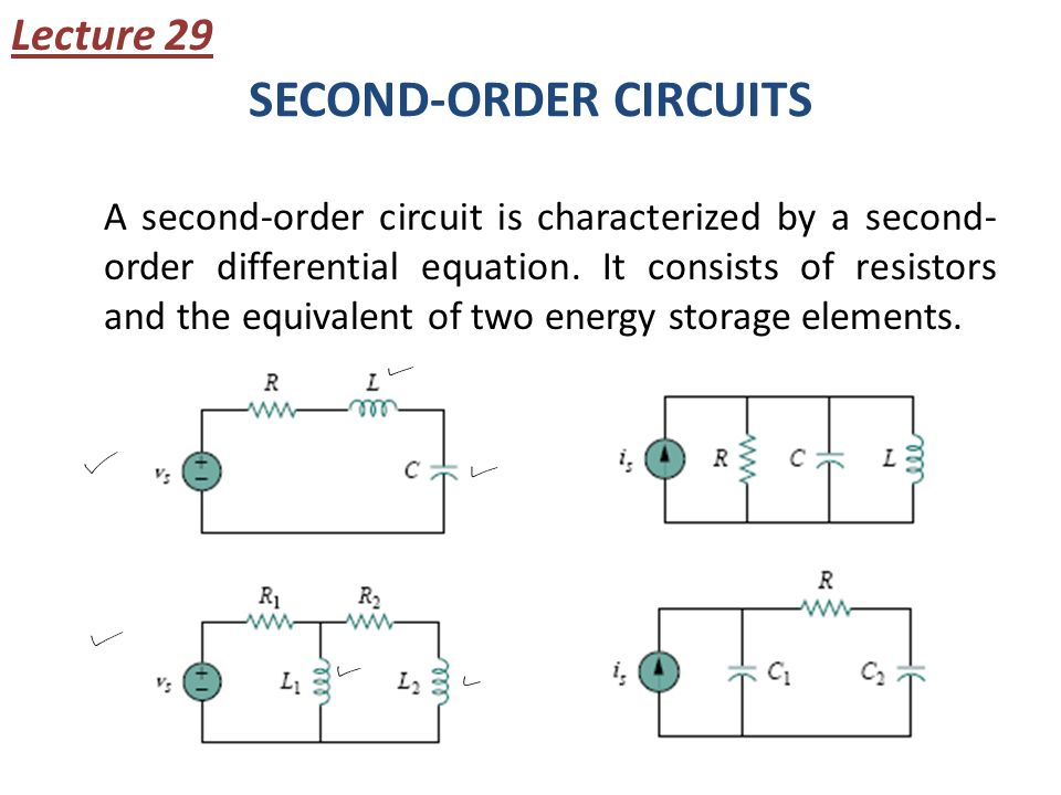 SECOND-ORDER CIRCUITS A second-order circuit is characterized by a second- order differential equation. It consists of resistors and the equivalent of