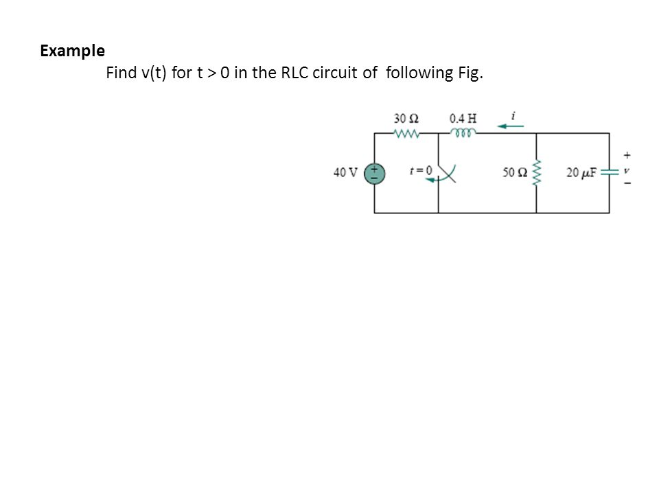 Example Find v(t) for t > 0 in the RLC circuit of following Fig.