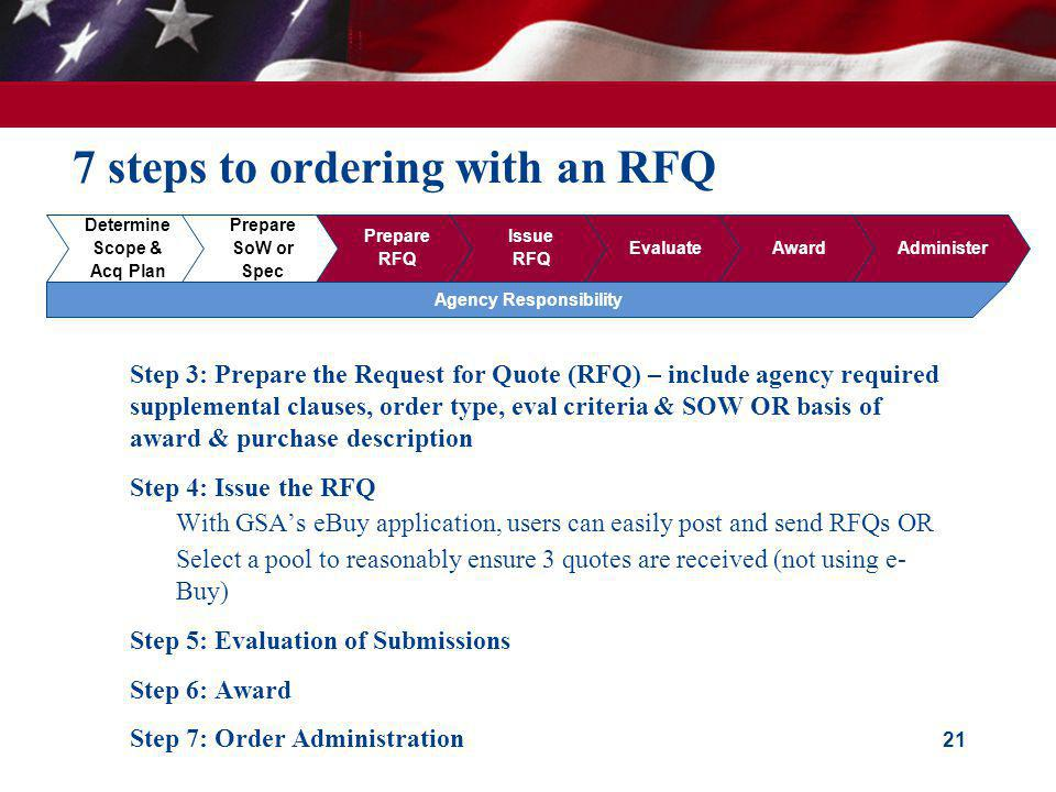 7 steps to ordering with an RFQ Step 3: Prepare the Request for Quote (RFQ) – include agency required supplemental clauses, order type, eval criteria