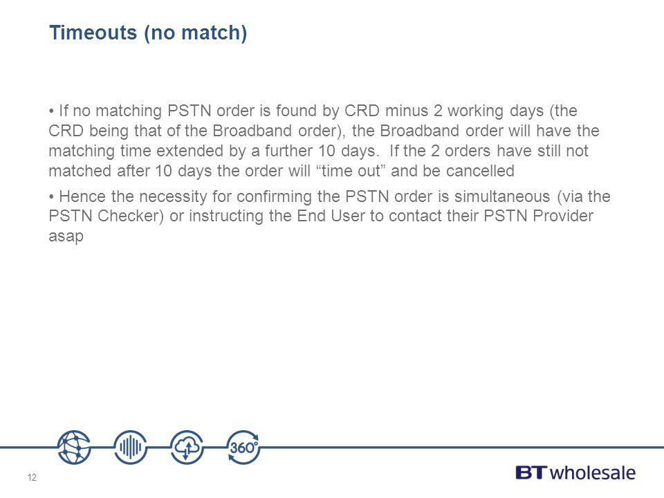 12 Timeouts (no match) If no matching PSTN order is found by CRD minus 2 working days (the CRD being that of the Broadband order), the Broadband order