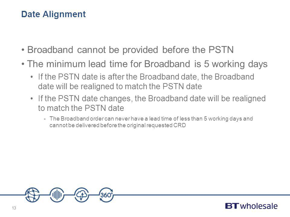 13 Date Alignment Broadband cannot be provided before the PSTN The minimum lead time for Broadband is 5 working days If the PSTN date is after the Bro