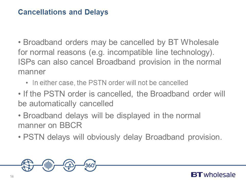 14 Cancellations and Delays Broadband orders may be cancelled by BT Wholesale for normal reasons (e.g. incompatible line technology). ISPs can also ca