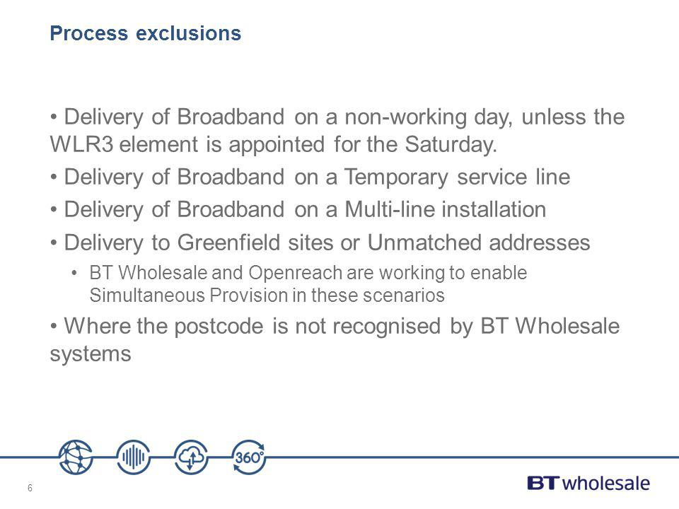 6 Process exclusions Delivery of Broadband on a non-working day, unless the WLR3 element is appointed for the Saturday. Delivery of Broadband on a Tem