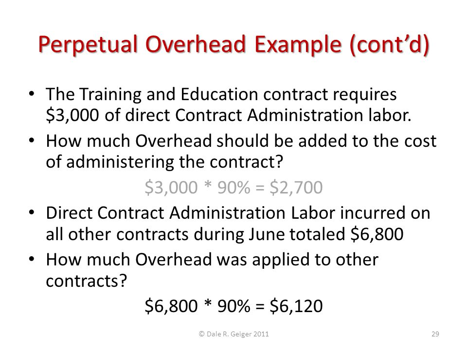 Perpetual Overhead Example (contd) The Training and Education contract requires $3,000 of direct Contract Administration labor. How much Overhead shou