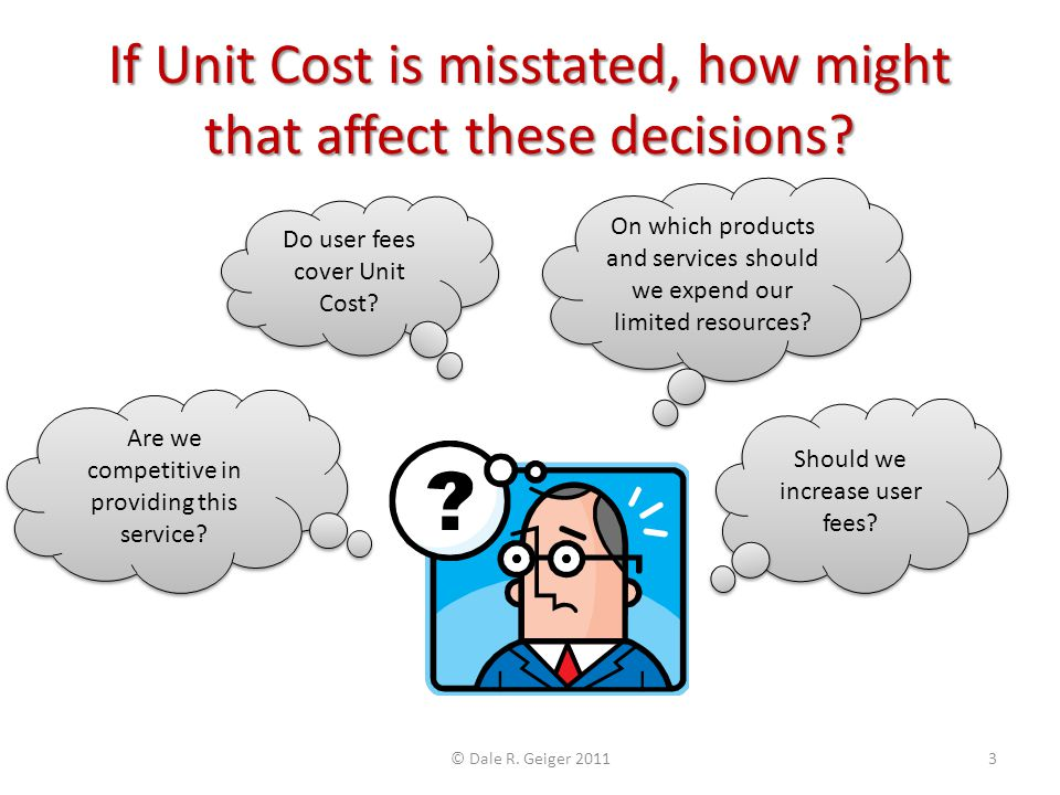 If Unit Cost is misstated, how might that affect these decisions? Do user fees cover Unit Cost? On which products and services should we expend our li