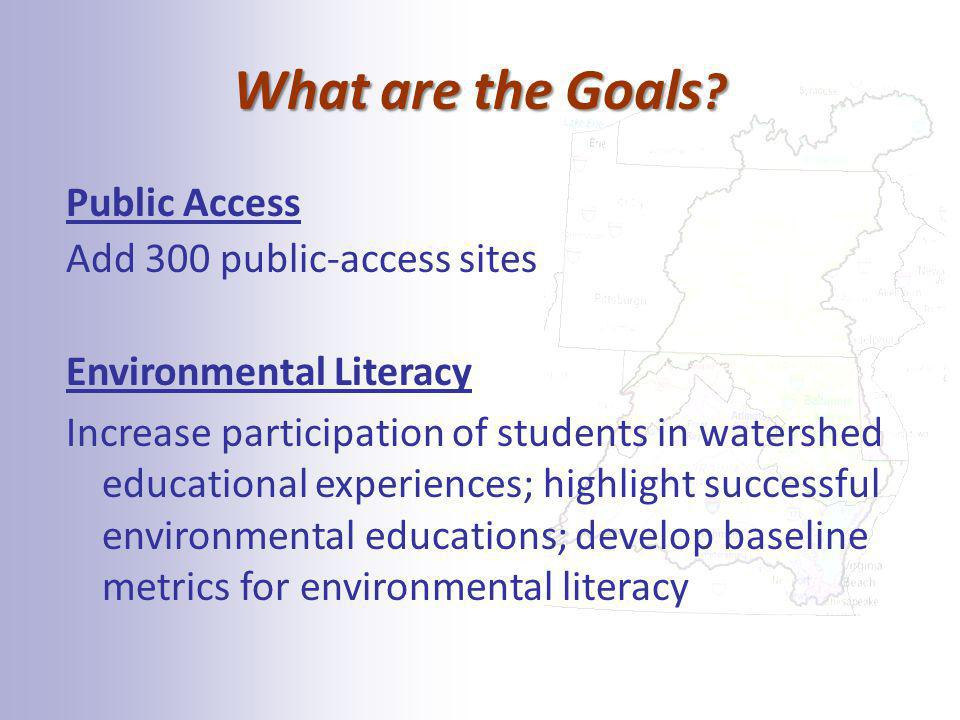 What are the Goals ? Public Access Add 300 public-access sites Environmental Literacy Increase participation of students in watershed educational expe
