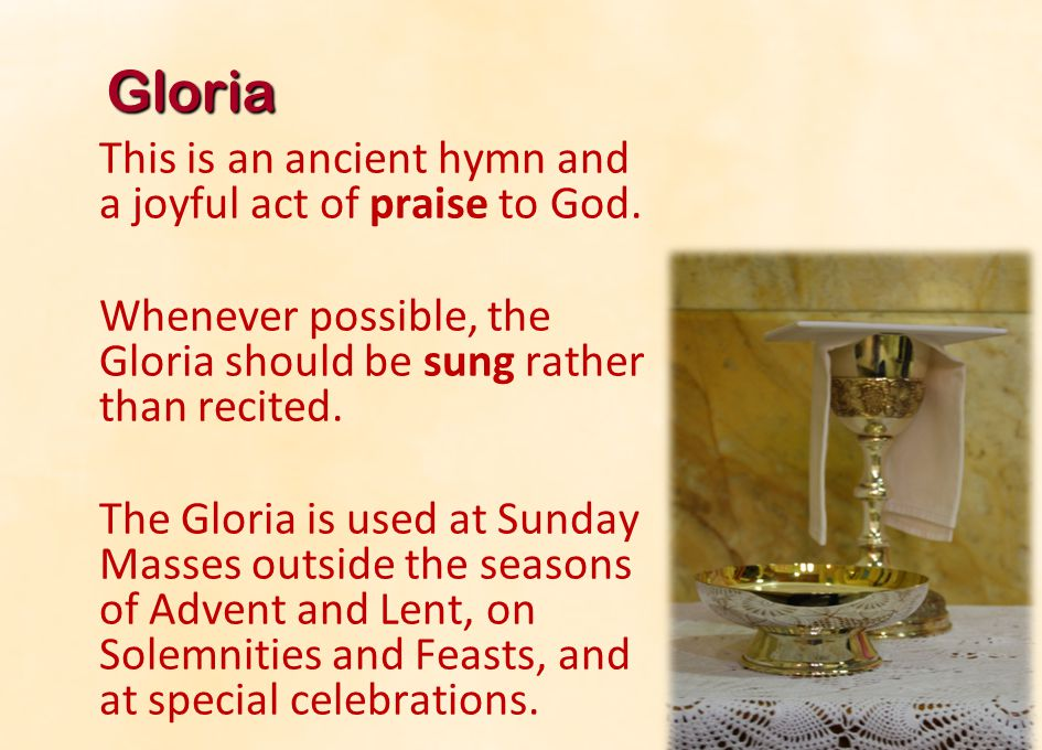 13 Gloria Glory to God in the highest, All: Glory to God in the highest, and on earth peace to people of good will.
