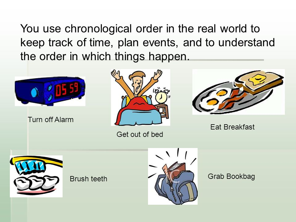 You use chronological order in the real world to keep track of time, plan events, and to understand the order in which things happen.