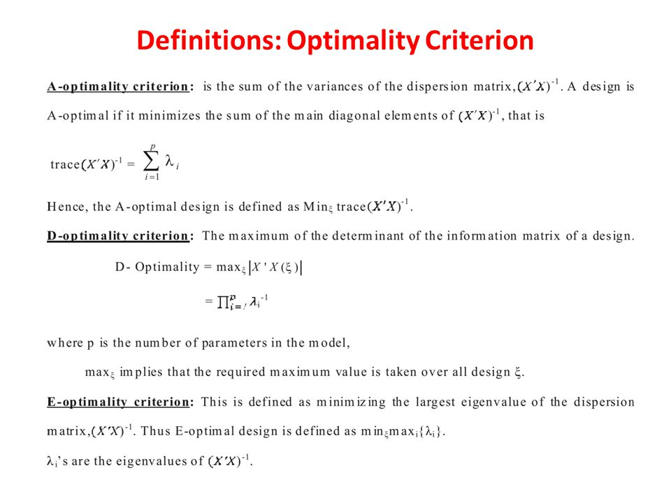 Definitions: Optimality Criterion